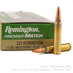 200 Rounds of .223 Ammo by Remington - 77gr HPBT