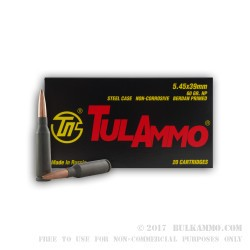 20 Rounds of 5.45x39mm Ammo by Tula - 60gr HP