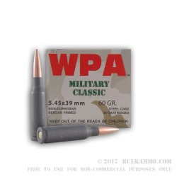 750 Rounds of 5.45x39mm Ammo by Wolf - 55gr HP