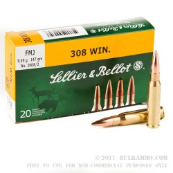 500 Rounds of .308 Win Ammo by Sellier & Bellot - 147gr FMJ