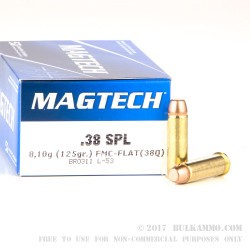 1000 Rounds of .38 Spl Ammo by Magtech - 125gr FMJ