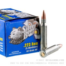 500  Rounds of .223 Ammo by Silver Bear - 62gr HP