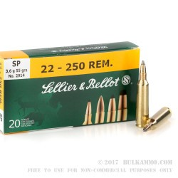 20 Rounds of .22-250 Rem Ammo by Sellier & Bellot - 55gr SP