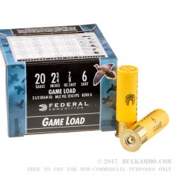 250 Rounds of 20ga Ammo by Federal Game Shok - 7/8 ounce #6 shot