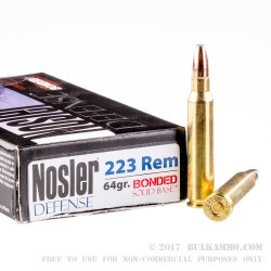 20 Rounds of .223 Ammo by Nosler Defense Ammunition - 64gr Bonded Flat Base SP