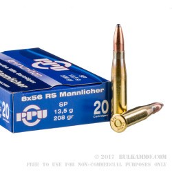 500  Rounds of 8x56 Mannlincher Ammo by Prvi Partizan - 208gr SP