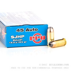 500  Rounds of .45 ACP Ammo by Prvi Partizan - 185gr SJHP
