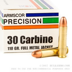 50 Rounds of .30 Carbine Ammo by Armscor - 110gr FMJ
