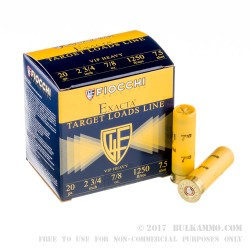 250 Rounds of 20ga Ammo by Fiocchi - 7/8 ounce #7 1/2 shot