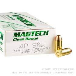 50 Rounds of .40 S&W Ammo by Magtech - 180gr FEB