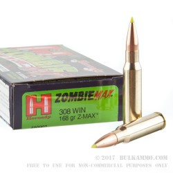 20 Rounds of .308 Win Ammo by Hornady - 168gr Zombie Z-Max
