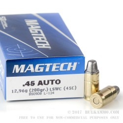 50 Rounds of .45 ACP Ammo by Magtech - 200gr LSWC