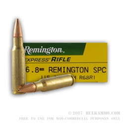 20 Rounds of 6.8 SPC Ammo by Remington - 115gr OTM