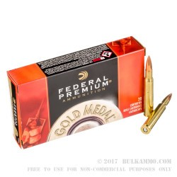 20 Rounds of 30-06 Springfield Ammo by Federal - 168gr HPBT MatchKing