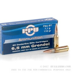 20 Rounds of 6.5mm Grendel  Ammo by Prvi Partizan - 110gr FMJBT