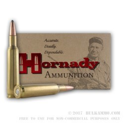 20 Rounds of 6 mm Rem Ammo by Hornady - 100gr SPBT
