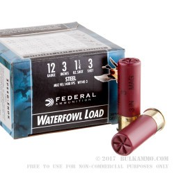 25 Rounds of 12ga Ammo by Federal Speed Shok - 1 1/4 ounce #3 Shot (Steel)