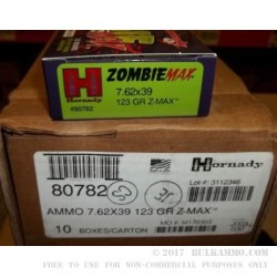 20 Rounds of 7.62x39mm Ammo by Hornady - 123gr Zombie Z-Max