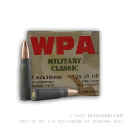 1000 Rounds of 7.62x39mm Ammo by Wolf WPA MC - 124gr HP