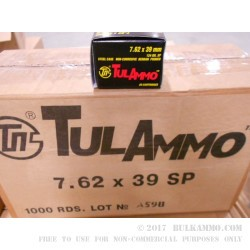 1000 Rounds of 7.62x39mm Ammo by Tula - 124gr SP