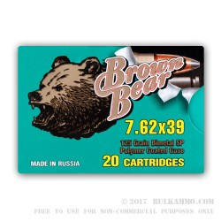 20 Rounds of 7.62x39mm Ammo by Brown Bear - 125gr SP
