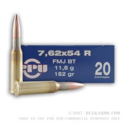 20 Rounds of 7.62x54r Ammo by Prvi Partizan - 182gr FMJBT