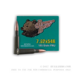 20 Rounds of 7.62x54r Ammo by Brown Bear - 185gr FMJ