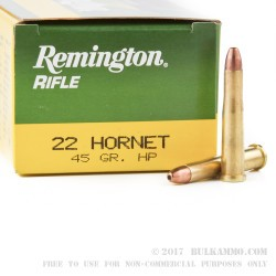 50 Rounds of .22 Hornet Ammo by Remington Express Rifle - 45 gr HP