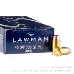 1000 Rounds of .45 GAP Ammo by Speer - 200gr TMJ