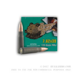 700 Round Sealed Container of 7.62x39mm Ammo by Brown Bear - 123gr FMJ