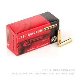 1000 Rounds of .357 Mag Ammo by GECO - 158gr FMJ