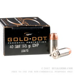 20 Rounds of .40 S&W Ammo by Speer - 165gr JHP