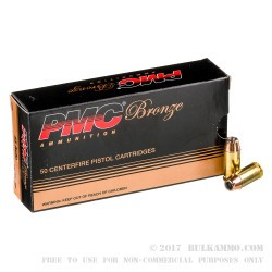50 Rounds of .45 ACP Ammo by PMC - 185gr JHP