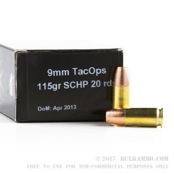 20 Rounds of 9mm Ammo by PNW Arms - 115gr SCHP