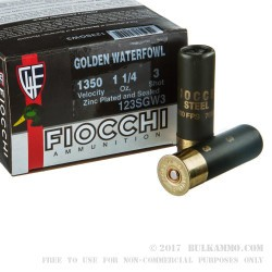 "25 Rounds of 12ga Ammo by Fiocchi Golden Waterfowl - 3"" 1 1/4 ounce #3 Steel Shot"