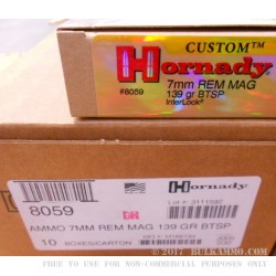 20 Rounds of 7mm Rem Mag Ammo by Hornady - 139gr SPBT Interlock