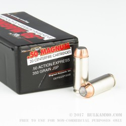 20 Rounds of .50 AE Ammo by Magnum Research - 350gr Jacketed Soft Point