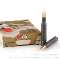 20 Rounds of 30-06 Springfield Ammo by Wolf Military Classic - 168gr FMJ