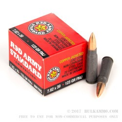 180 Rounds of 7.62x39mm Ammo by Red Army Standard - 123gr FMJ