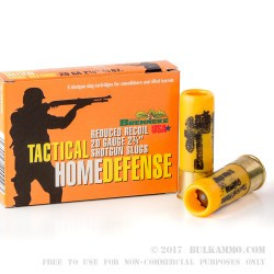 "5 Rounds of 20ga Ammo by Brenneke Tactical Home Defense - 2-3/4"" 3/4 ounce Rifled Slug"