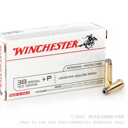 500  Rounds of .38 Spl Ammo by Winchester USA - 125gr JHP