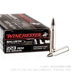 20 Rounds of .223 Ammo by Winchester - 55gr Polymer Tipped Ballistic Silvertip