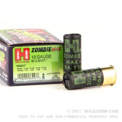 10 Rounds of 12ga Ammo by Hornady -  00 Buck Zombie