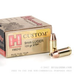 25 Rounds of 9mm Ammo by Hornady - 124gr JHP