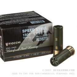 """25 Rounds of 12ga Ammo by Fiocchi - 3"""" 1-1/8 ounce #2 Shot Speed Steel Shot"""