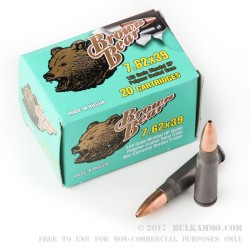 20 Rounds of 7.62x39mm Ammo by Brown Bear Polymer Coated - 123gr HP