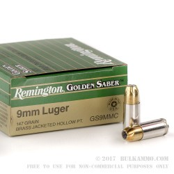 25 Rounds of 9mm Ammo by Remington Golden Saber - 147gr JHP