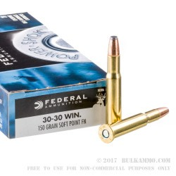 20 Rounds of 30-30 Win Ammo by Federal - 150gr SP