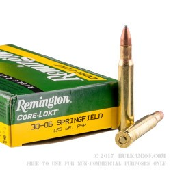 200 Rounds of 30-06 Springfield Ammo by Remington - 125gr PSP