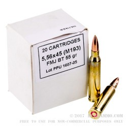 20 Rounds of 5.56x45 Ammo by Prvi Partizan - 55gr FMJ